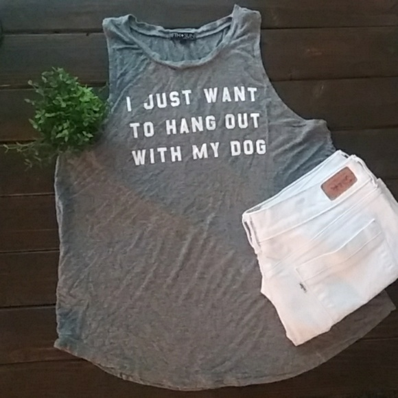 Fifth Sun Tops - Fifth Sun Graphic Tee Tank High Neck Size Large